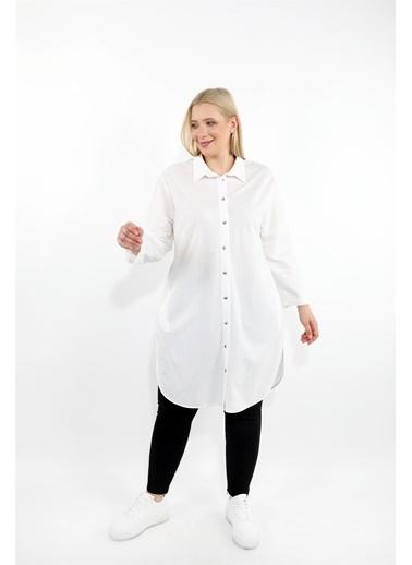 Luokk Sıera Rahat Kesimli Gizli Cepli Kadın Tunik Gömlek Ekru